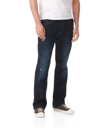 Slim Bootcut Destroyed Dark Wash Jean