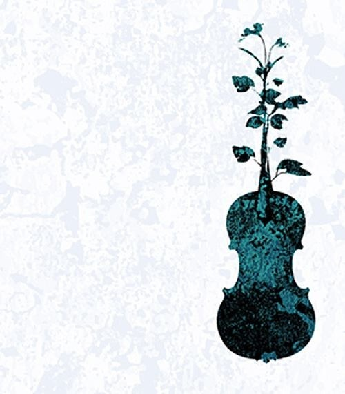 Violin and flowers, magical healing powers