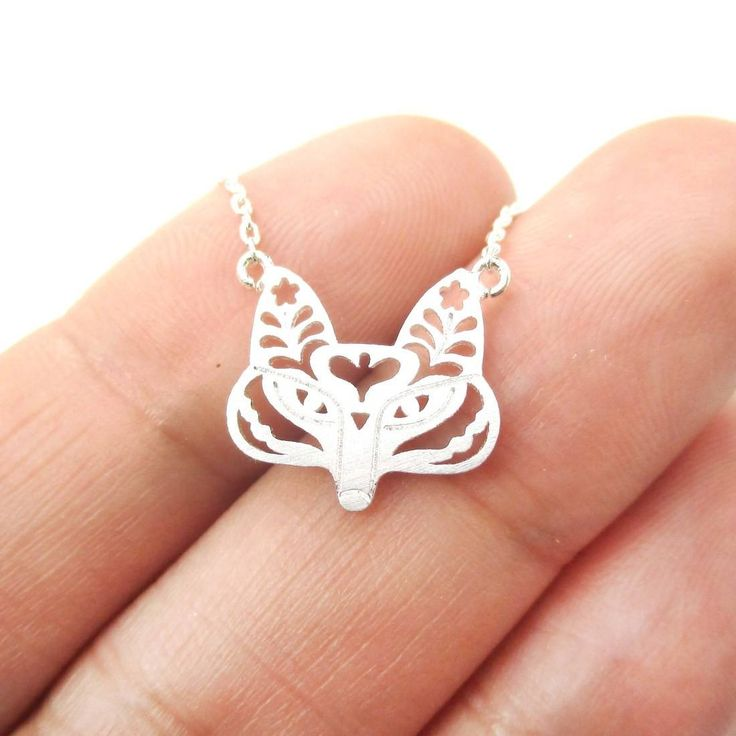 Fox Face Shaped Tribal Floral Cut Out Charm Necklace in Silver | Animal Jewelry