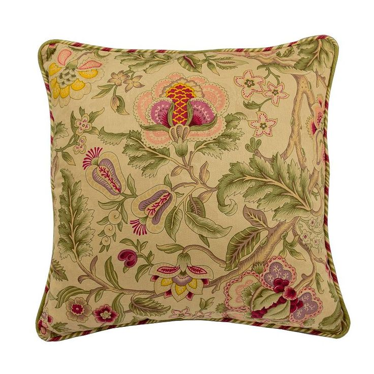 Waverly Imperial Dress Jacobean Floral Throw Pillow, Beige Oth