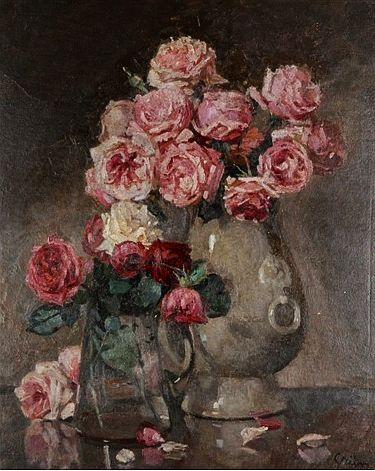 ✨ Jules Alexandre Grün (1868-1934) - Vases aux roses, oil on plywood, 61 x 50 cm