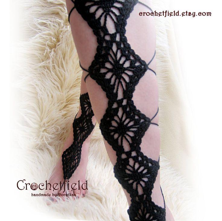 DIAMANTES negros de crochet encaje hasta sandalias pies