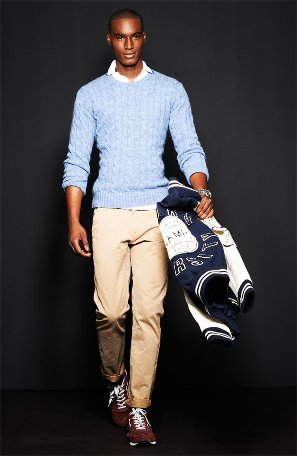 Polo Ralph Lauren Cable Knit Cashmere Sweater & True Religion Brand Jeans Varsity Letterman's Jacket