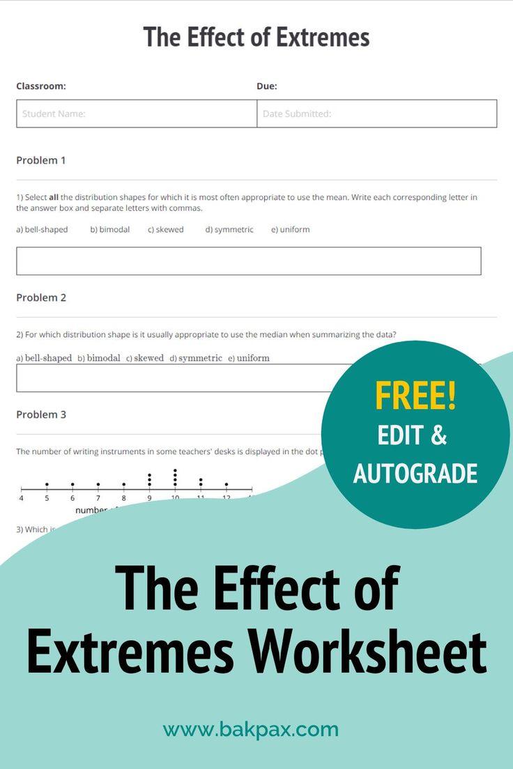 Free Effect of Extremes Algebra Worksheet in 2020