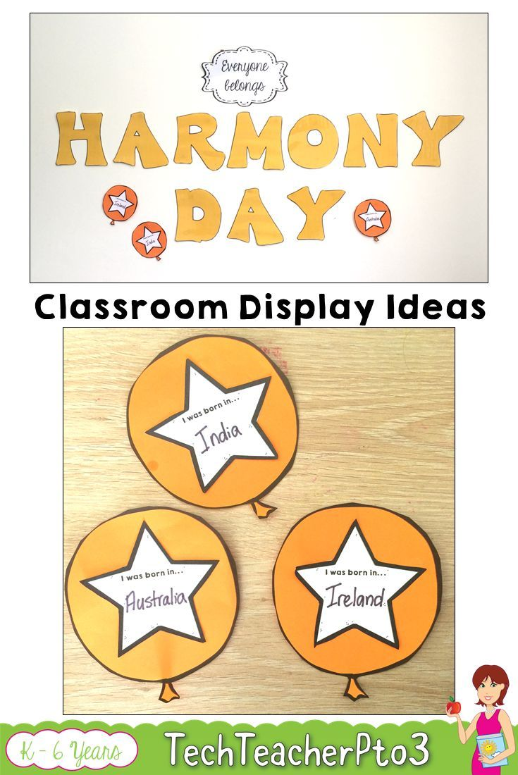 Harmony Day bulletin board ideas and activities for your primary classroom. Suitable for kindergarten, Prep, foundation, year 1, year 2, year 3, year 4, year 5 and year 6. Celebrate cultural diversity with your students with this fun display for your classroom or front office.