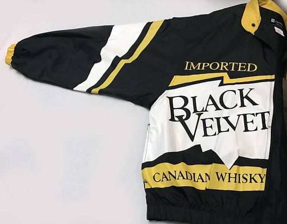 Vtg. Unisex Black Velvet Canadian Whisky logo branded windbreaker, black white yellow zip up jacket, Trailer Park Boys style retro fashion