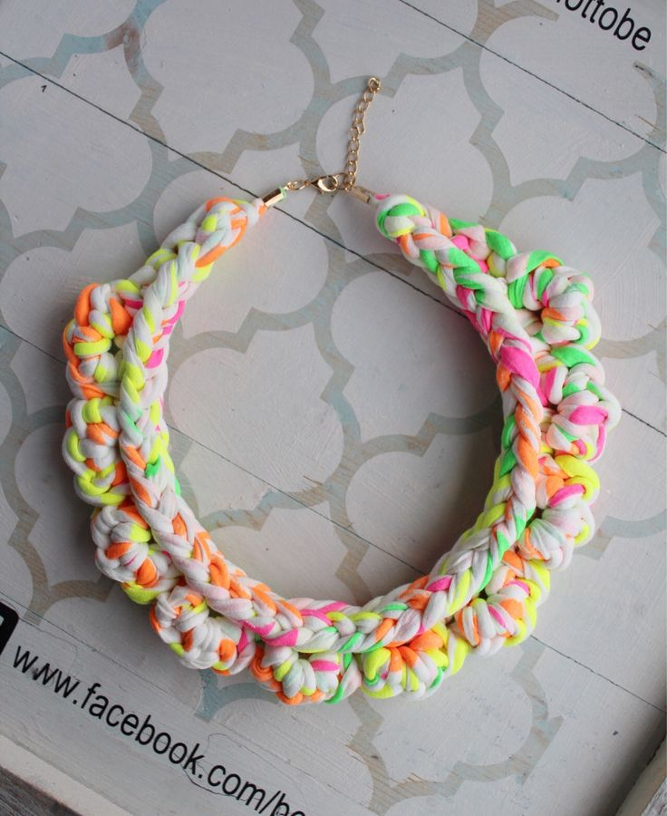 A personal favourite from my Etsy shop https://www.etsy.com/ie/listing/553826979/neon-fabric-bib-necklace-chunky