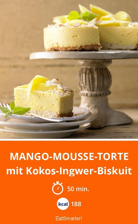 Mango-Mousse-Torte - mit Kokos-Ingwer-Biskuit - smarter - Kalorien: 188 Kcal - Zeit: 50 Min.   eatsmarter.de