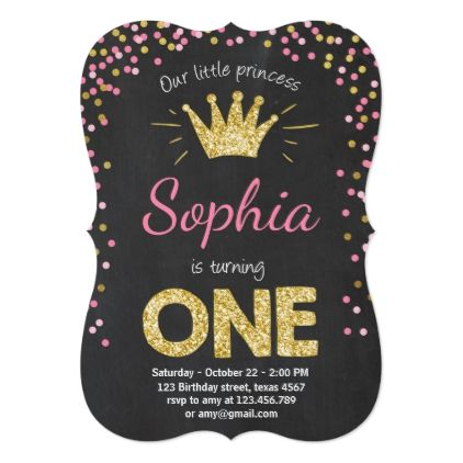 First birthday invitation Princess Gold Pink - birthday cards invitations party diy personalize customize celebration