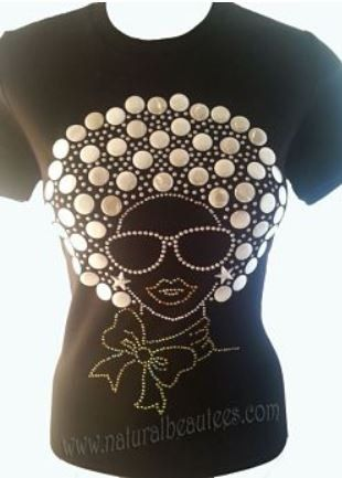 Natural Hair Rhinestone Black Fitted Shirt Bling African American Afro Puff Fro on Etsy, $35.00