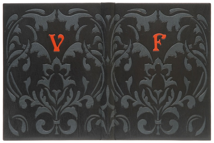 Frankenstein by Mary Shelley. Illustrated by Barry Moser. Bound by Scott K. Kellar in 2007. Damask wallpaper pattern from Victorian period forms basis for the design. Pattern suggests jaded formality & yet individual shapes within it exhibit a curiously voluptuous/sinister character. Bold V & F monogram is for Victor Frankenstein. His notebook plays an important role, possessed both by the doctor & the monster. My binding suggests the cover of that book.