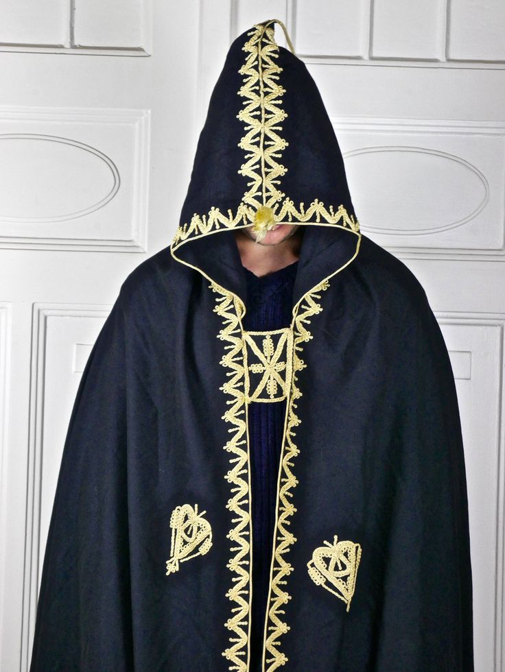 Moroccan Vintage Hooded Cape Cloak, Black Fine Wool w Gold Embroidery and Tassle Salham Cosplay Wizard Cape by YouLookAmazing on Etsy