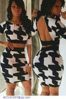 Half Sleeves Hollow-out Dog Tooth Skirt Set LC21846