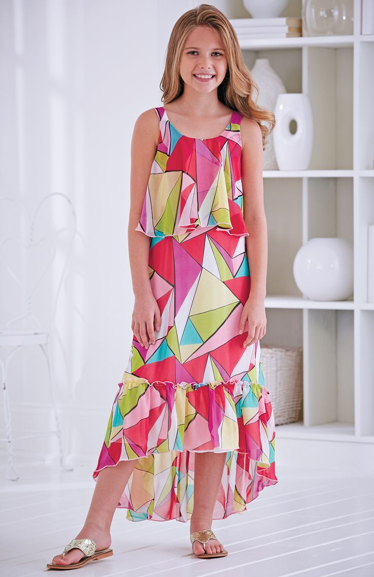 From CWDkids: Geo Print Ruffle Chiffon Dress.