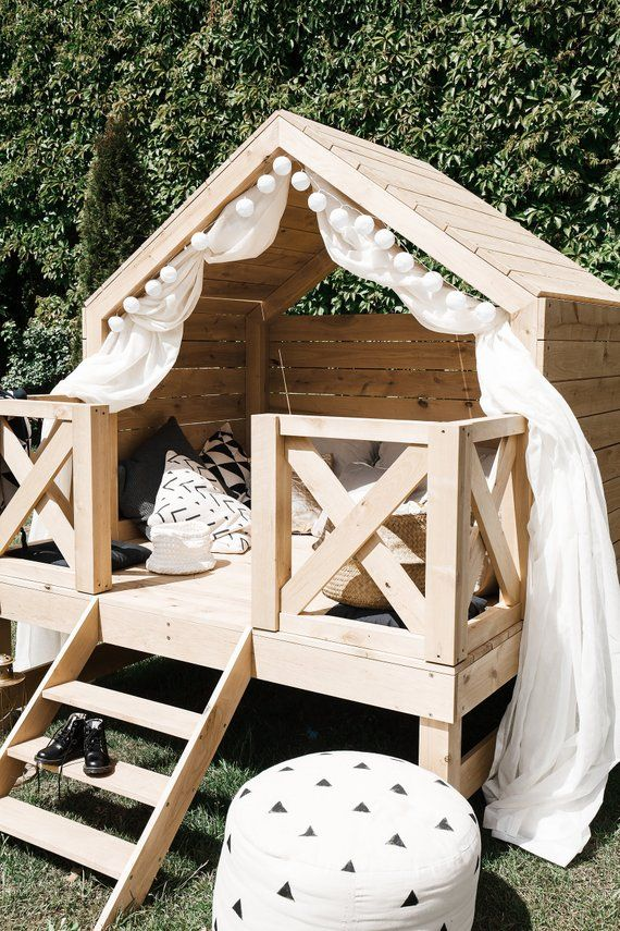 Beach Bungalow Outdoor Playhouse, Outdoor Playhouse Furniture For Kids