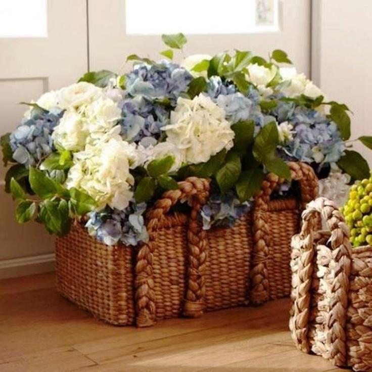 Flower display in basket