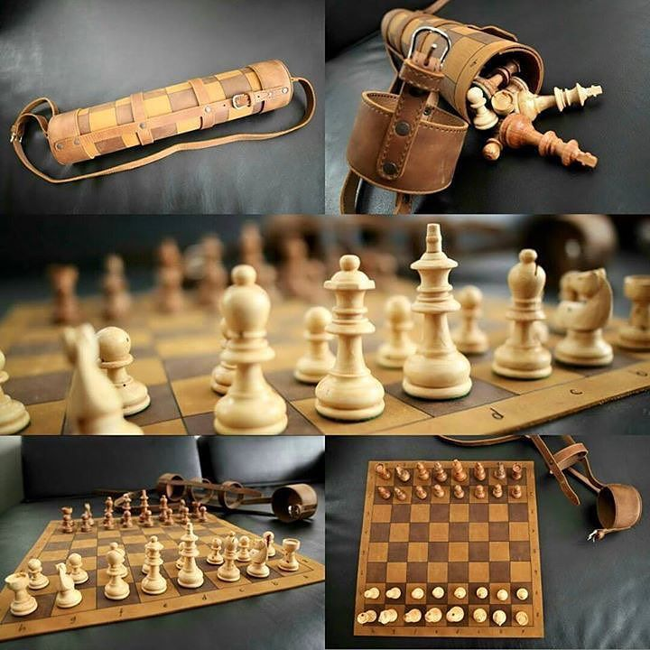 "This beauty is Joseph Santos ""favorite travel chess set!. The Tournament Chess Set's full grain board rolls up nice and snug and each chess piece is hand-carved."