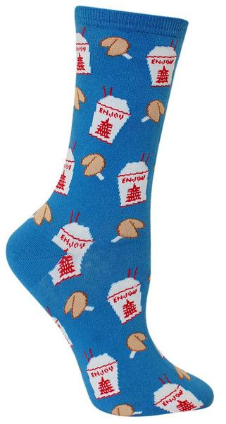 "Don't forget your fortune cookie! Here's what it says: ""You will find money in pocket, you will use money to buy these socks."" Well, you heard the cookie! Fits women's shoe size 5-10. Available in blue or black."