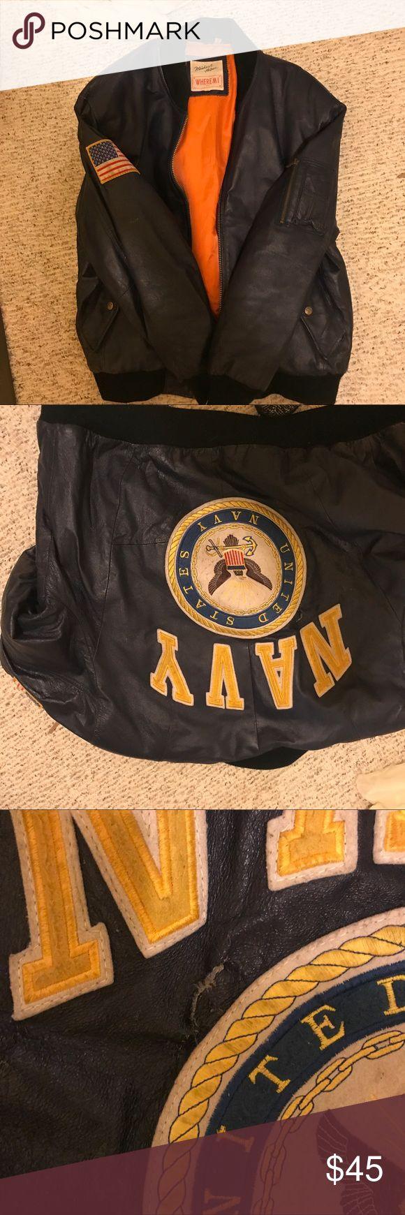 Navy bomber jacket Navy bomber jacket has a tear ☠️sold as is 🥂 Jackets & Coats Bomber & Varsity