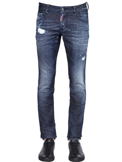 DSQUARED2 - JEANS SLIM FIT IN DENIM DARKNESS WASH 18CM - LUISAVIAROMA - LUXURY SHOPPING WORLDWIDE SHIPPING - FLORENCE