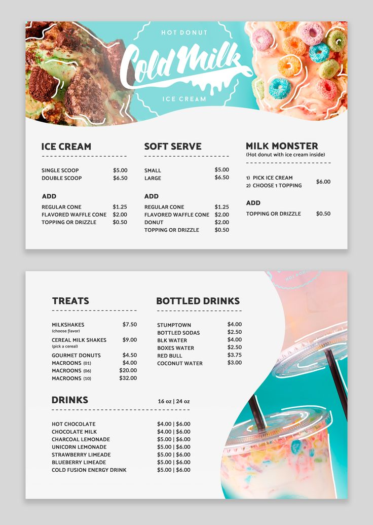 Designs ColdMilk and Treats Menu Redesign and Branding