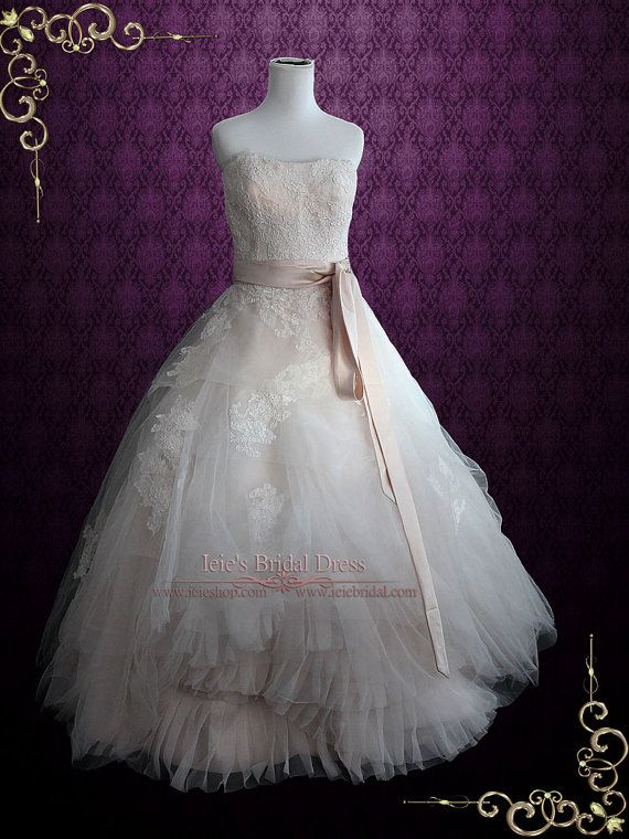 Whimsical Strapless Lace Ball Gown Wedding Dress | Ethereal Wedding Dress | Organza Wedding Dress | Eliza