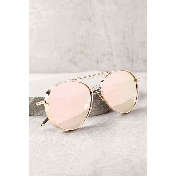Perverse Solid Rose Gold Mirrored Aviator Sunglasses ($68) ❤ liked on Polyvore featuring accessories, eyewear, sunglasses, gold, aviator sunglasses, mirrored aviator sunglasses, aviator style sunglasses, mirror aviators and thick sunglasses