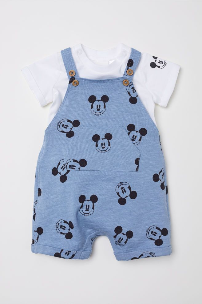 Disney Store Mickey Mouse Dungaree Set Baby Bodysuit Overalls Critters Outfit