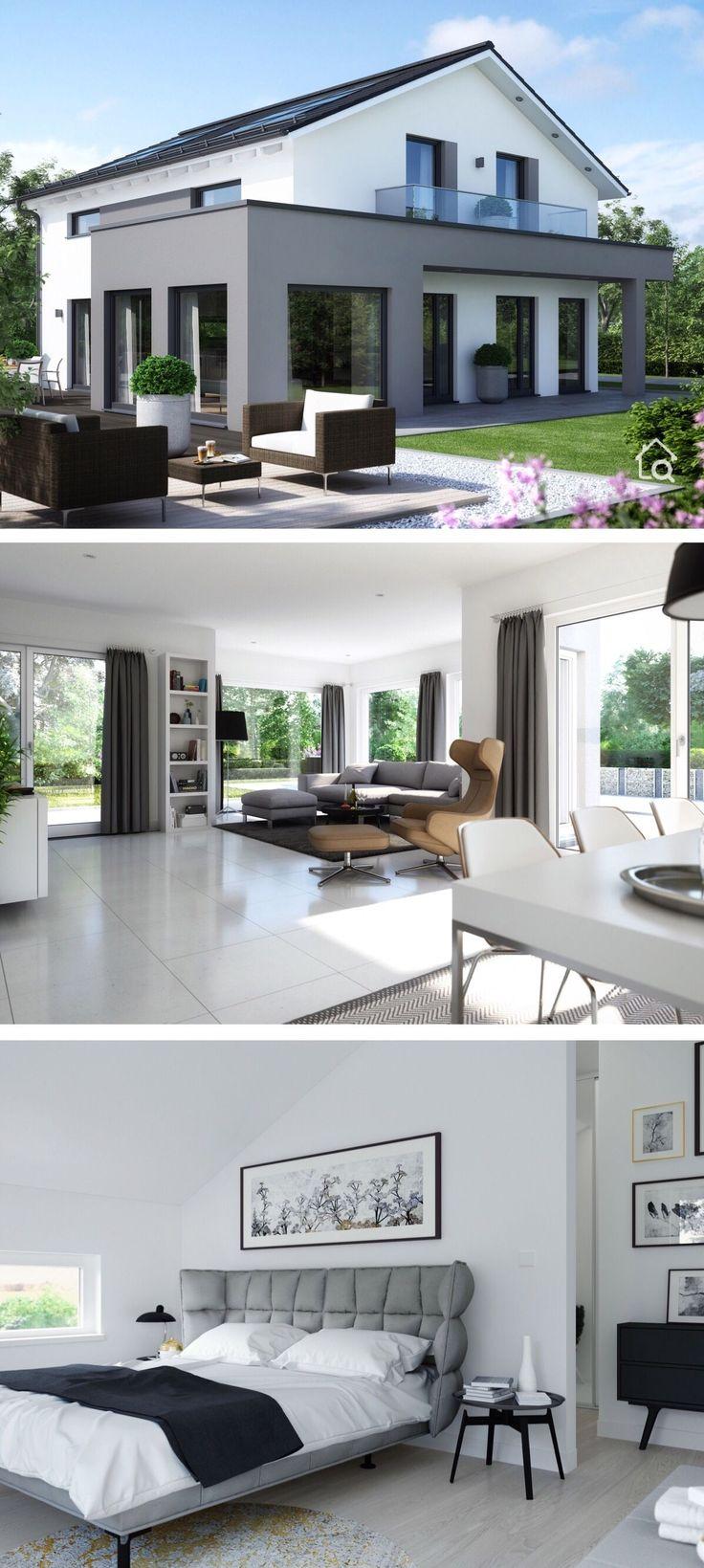 Fertighaus modern mit Satteldach & großem Erker, …