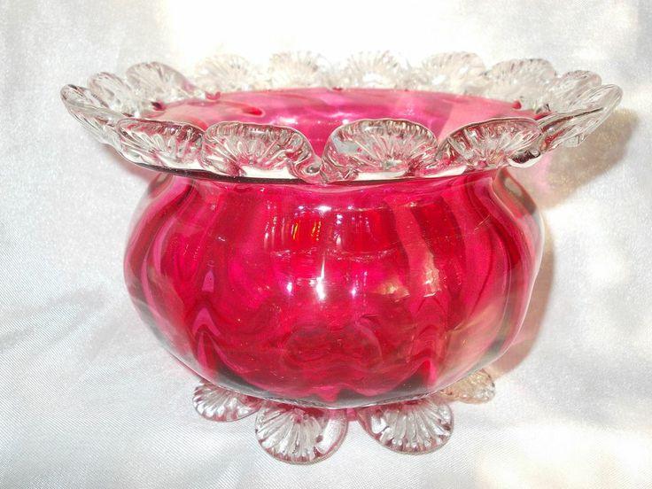 LARGE ANTIQUE STOURBRIDGE VICTORIAN CRANBERRY GLASS BOWL