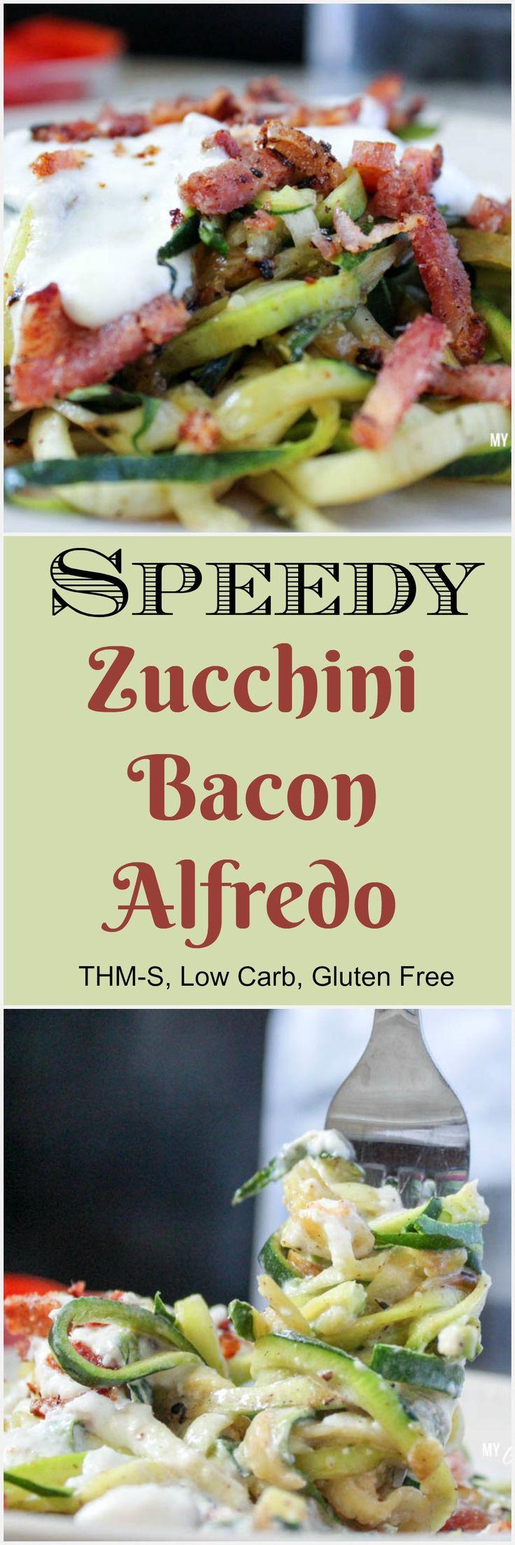 Speedy Zucchini Bacon Alfredo (THM-S, Low Carb)