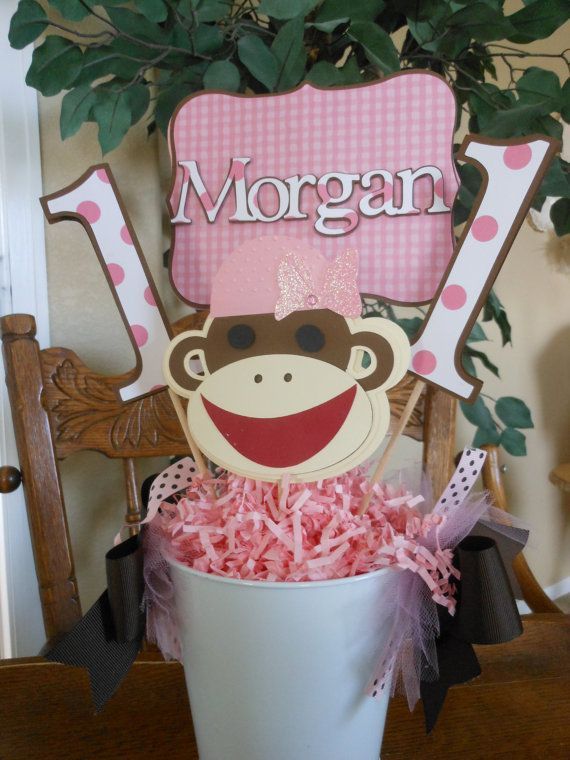Sock Monkey Girl's 1st Birthday Party Package by ASweetCelebration, $269.00