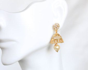 Cute CZ Jhumka small CZ earring Kids Size Jhumka by JhumkaJunction