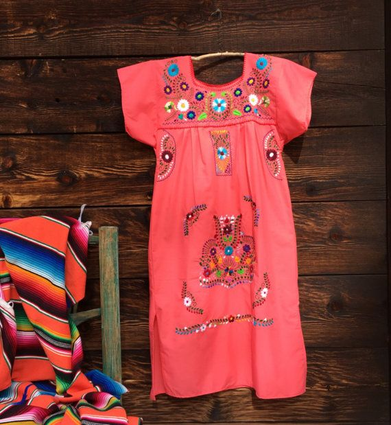 Mexican dress darling coral salmon color with amazing floral embroidery summer fun dress beach cover up so comfortable everyday wear