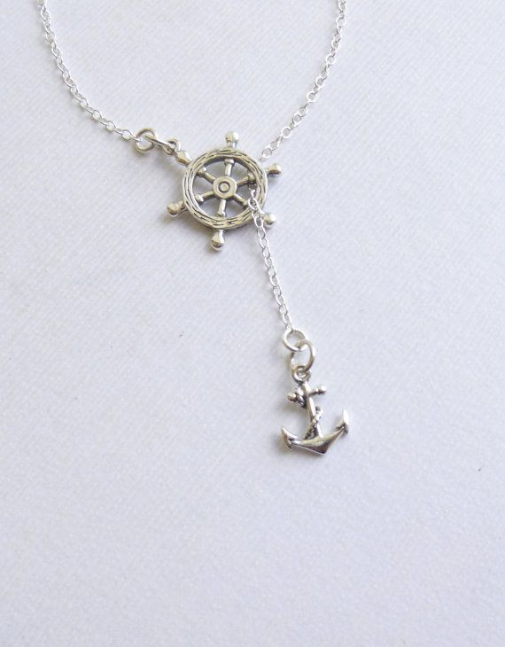 Sterling Silver Nautical Wheel and Anchor Lariat Necklace... Entirely Sterling Silver... Graduation... Journey on Etsy, $32.00