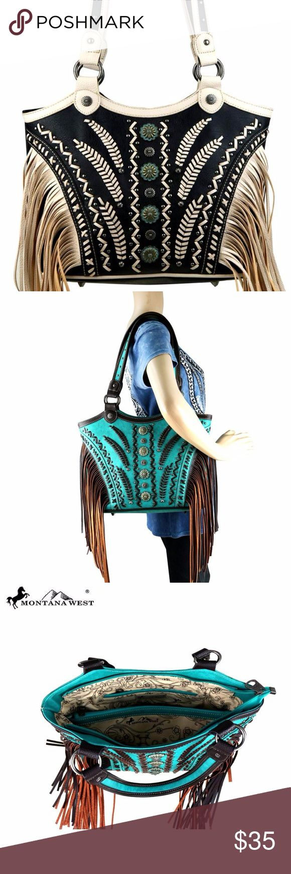 """Montana West Concealed Handgun Fringe Tote Made of PU leather, this tote bag has:  14.5"""" x 5""""  x 11 (Drop 11"""")  Accented with patina gold conchos and antique silver studs Saddle and tribal pattern stitch details Fringe on the sides A zipper enclosure on top of the bag Inside single compartment divided by a medium zippered pocket Inside of bag include a zippered pocket and 2 open pockets  A zippered pocket on the back to conceal the handgun (9.5 x 5.5) An open pocket on the back Metal feet on…"""