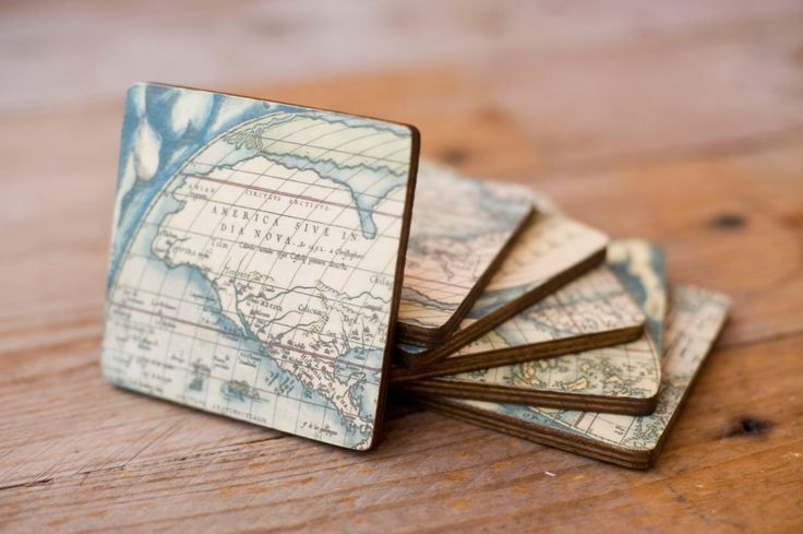 Handmade, vintage, rustic style world map wooden decoupage coasters - Set of 6 by Gurdey on Etsy