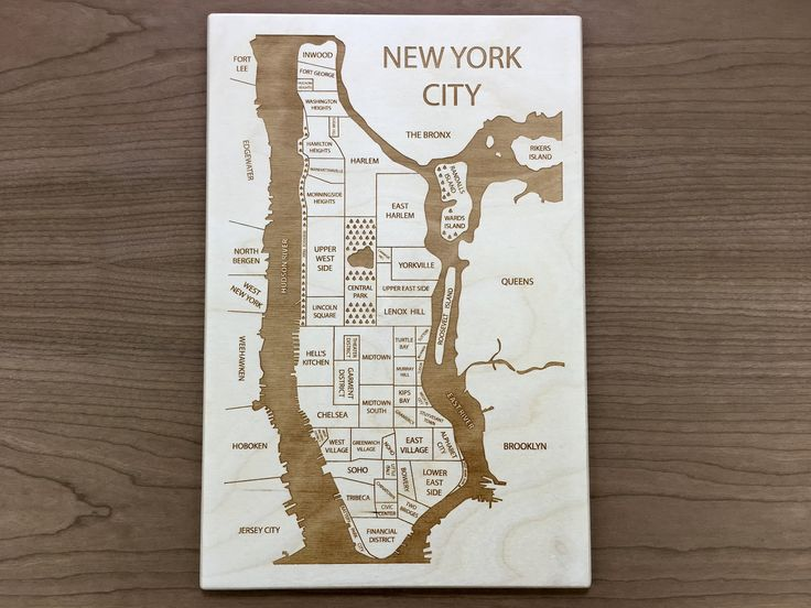 NYC Engraved Wood Neighborhood Map by Etched Atlas