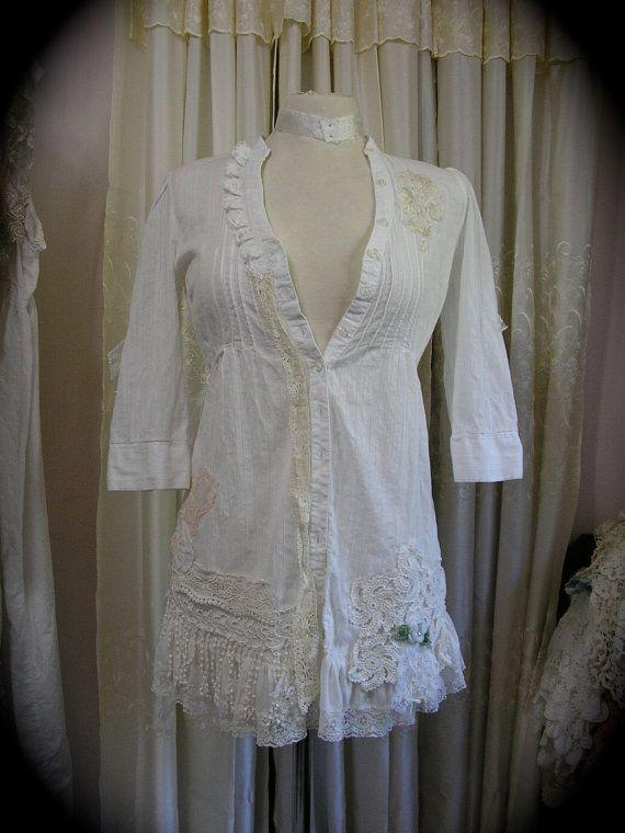Womens White Blouse romantic shabby victorian by TatteredDelicates, $115.00