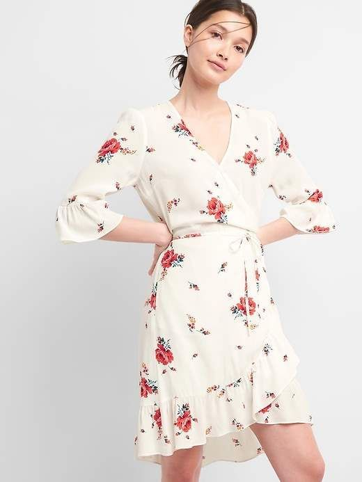 1f2890a214477d Floral Ruffle Wrap Dress in cream white with red roses floral print |  petite, regular, tall | v-neck smooth crepe weave, drawcord belt at the  waist, ...