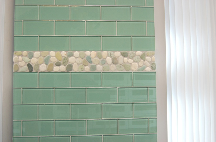 Glass Subway Tile Backsplash Sea Bright 2x4