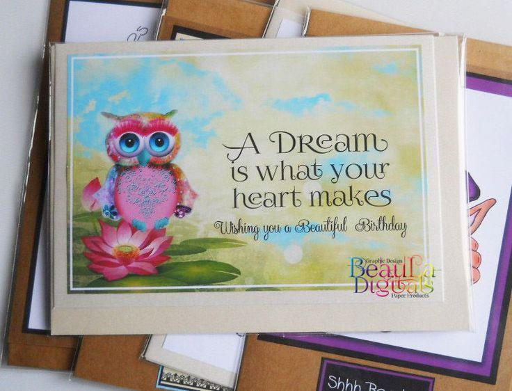 Greeting Card Birthday Card Hand Drawn Owl Greeting Card - Dream Heart
