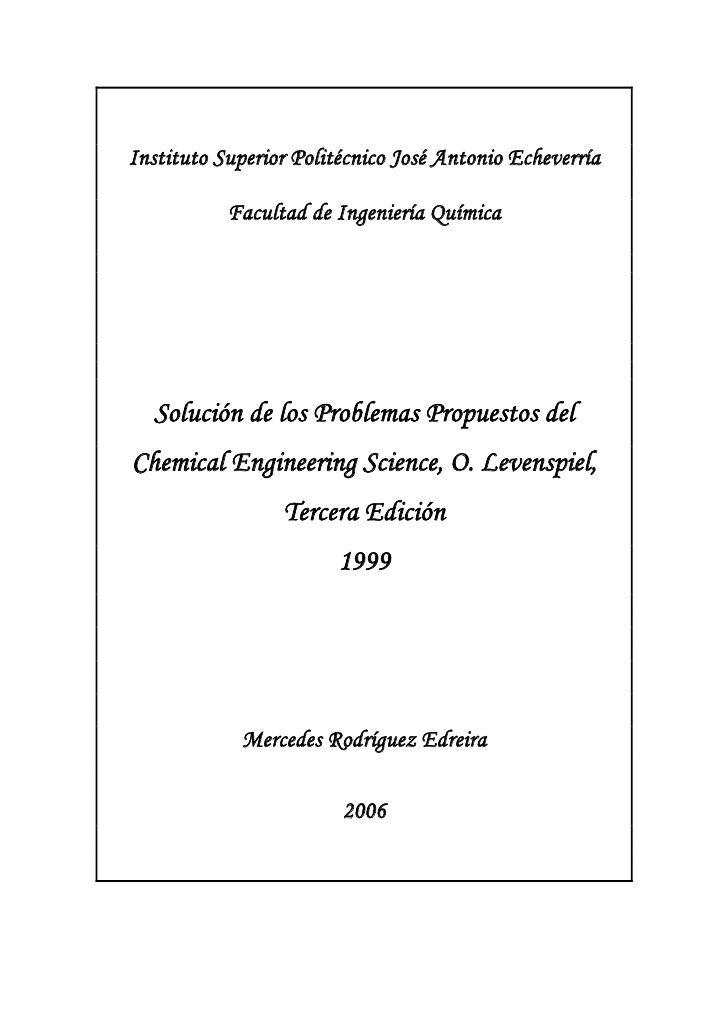 Solution Manual De Ingenier A De Las Reacciones Qu Micas   Octave Levenspiel   3edicion