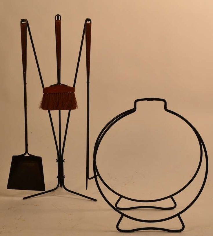 Five-Piece Midcentury Fireplace Tools with Log Holder 2