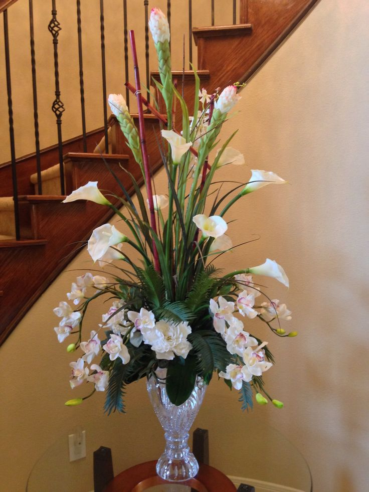 calla lily with orchid flower arrangement for perfect foyer or staircase by arcadia floral and - Silk Arrangements For Home Decor