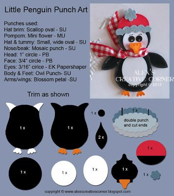 Alexs Creative Corner: Little Penguin Punch Art Instructions