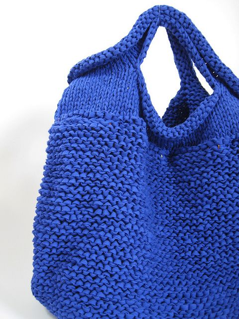 HAND KNIT BAG/BLUE by eccomin, via Flickr