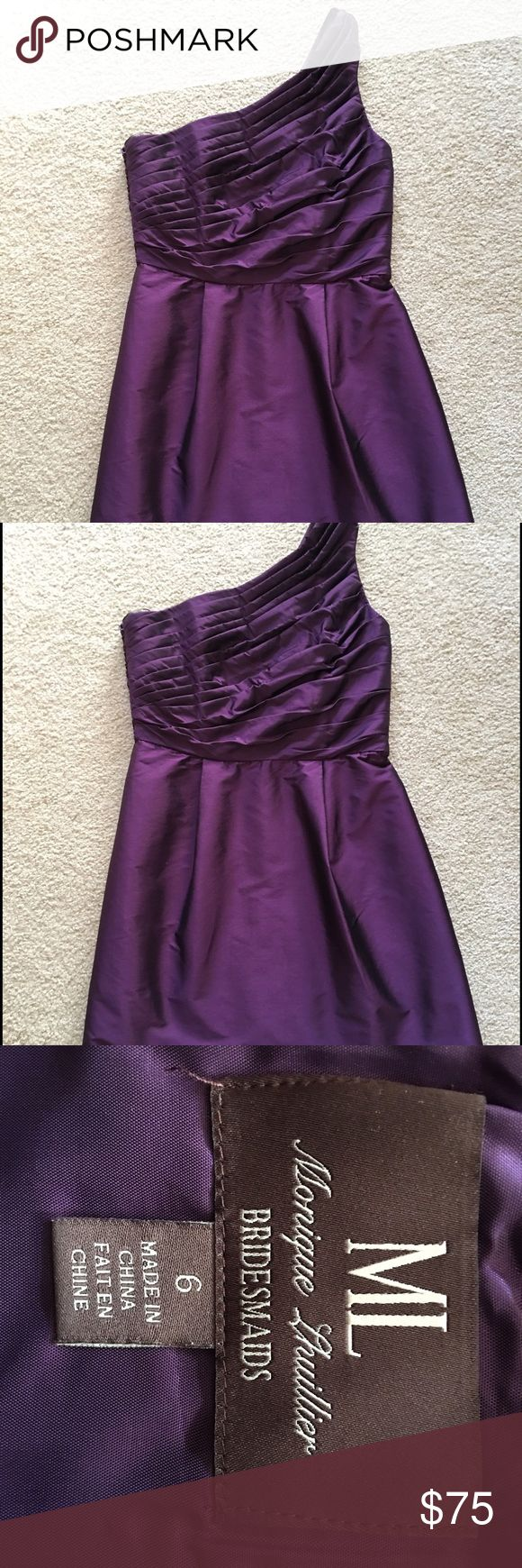 Monique Lhullier One Shoulder Dress Royal Purple bridesmaid dress, worn once and in great condition. Dry cleaned immediately after use. Monique Lhuillier Dresses One Shoulder