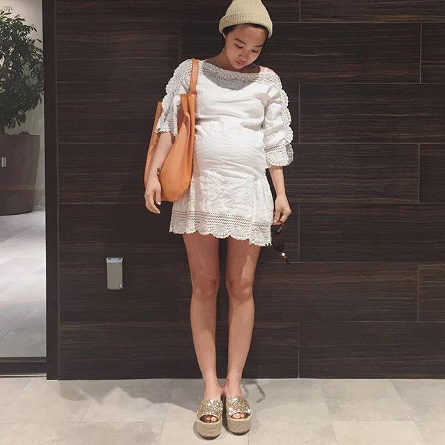 何を着てもまんまるシルエット。。⛄️早く産みたい。。。。臨月です ママバッグになる大きいバッグをあんまり持ってないので最近これを買ってもらった!