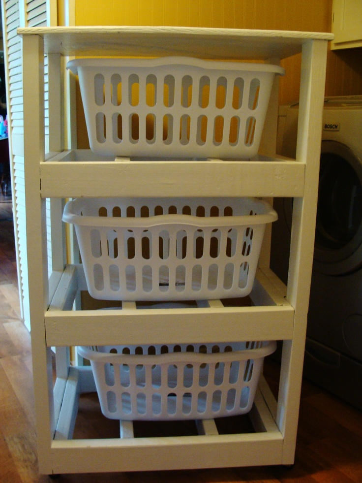 Laundry Basket rack but painted in a creamy shabby chic white but built into the wall.